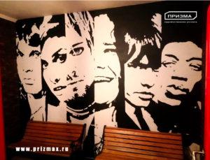Роспись портретов на стене, роспись в черно белом стиле, нарисовать черно-белые портреты на стену