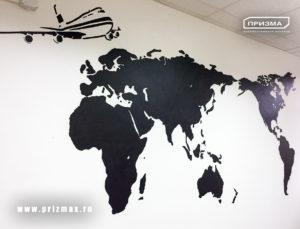 Роспись для логистической компании, трафаретная роспись стен в фирменном стиле