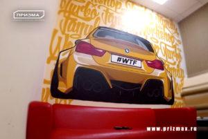 Роспись в автосалоне, роспись в автосервисе, селфи стена в автосервисе