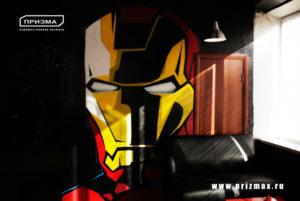 Роспись стен в кальянной, роспись стены с героями комиксов в молодежном стиле