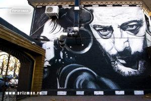 Роспись фасадов для кафе, роспись фасадов в стиле кино