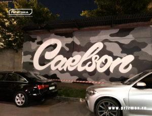 Роспись фасадов для автосервиса, реклама для автосалона автосервиса в стиле графити
