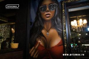 роспись стен в ресторане, роспись стен в кафе в стиле фотореализм