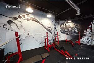 роспись стен в спортивном зале, роспись железное сердце