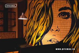 роспись в кальянной в стиле поп-арт, портрет девушки на стену